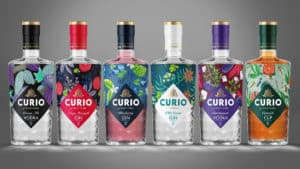 line up of curio bottles of vodka and gin