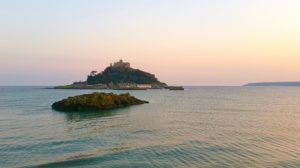 St Michaels Mount Cornwall. Island surrounded by the sea