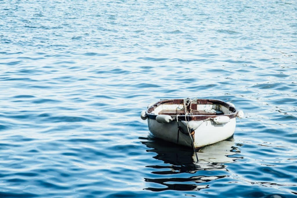 Paddle boat floating on water