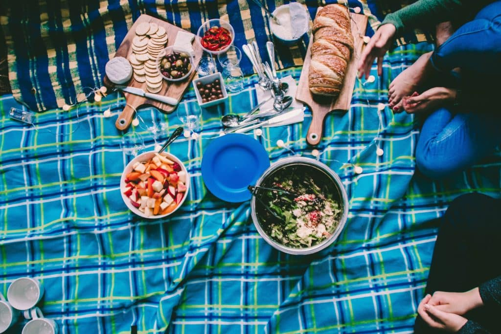 Picnic on a blue blanket