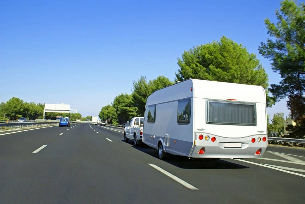 Caravan on road